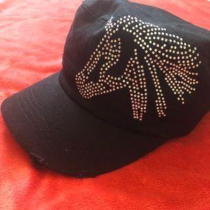 Black Military Cap w Rhinestone Horse Design